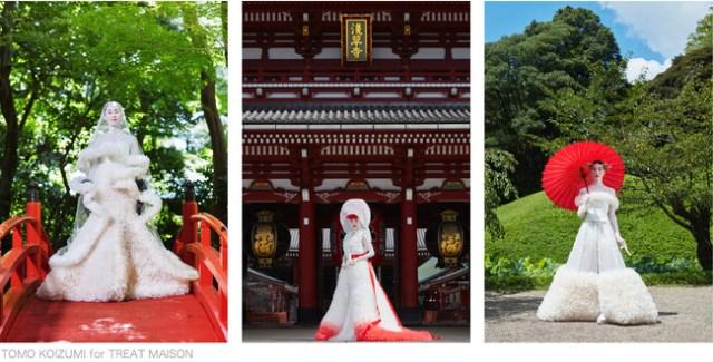 白無垢のようなウェディングドレスが美しい…ドレスに加わった「和」の要素が唯一無二の世界観を演出しています