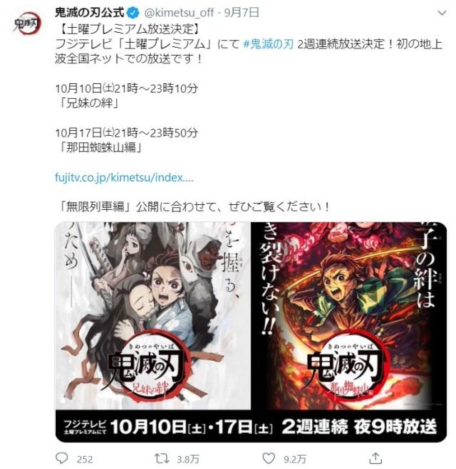 【今夜】アニメ『鬼滅の刃』がスペシャルとなって初の地上波全国放送!2週に渡って放送されるよ~