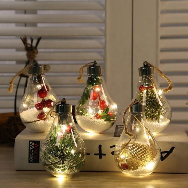 電球型の「光るオーナメント」がロマンティックな美しさ… ツリーに飾ってもよし、そのまま飾ってもよしです♪