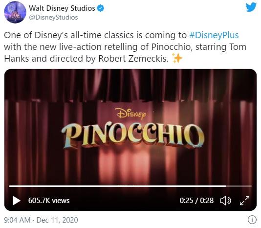 ディズニーの名作『ピノキオ』が実写化! トム・ハンクスが心優しきゼペットじいさんを演じるそうです