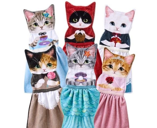 赤ずきんに人魚姫…猫ちゃんが童話の主役になったドレスタオルが可愛い! 洗面所やキッチンが童話の世界になっちゃいます