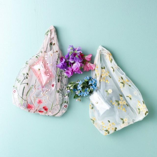 フランフランの刺繍チュールバッグが春にピッタリで可愛いの極み♡ 付属のポーチに入れて持ち運べるよ~