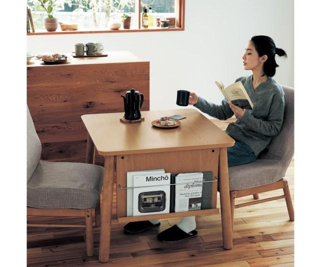 このダイニングテーブル、小さいのに機能的すぎるっ!! 4つの収納が一体化していて一人暮らしに最適なのです…