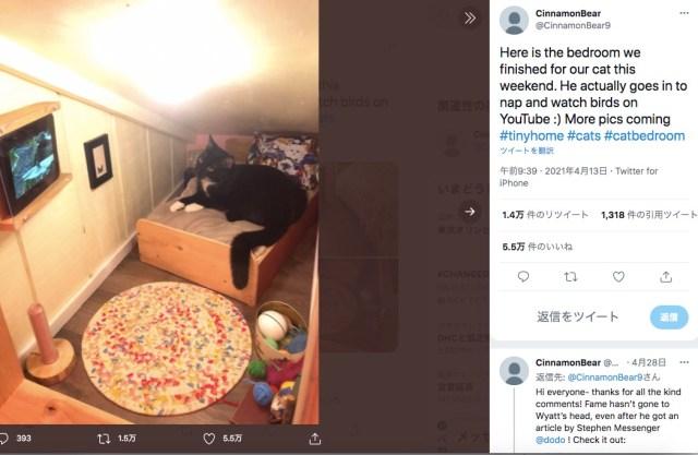 ドールハウスみたいな「猫さま専用ルーム」で優雅に暮らす猫ちゃん♡ ベッドにおもちゃ、壁には本物のテレビまであるよ