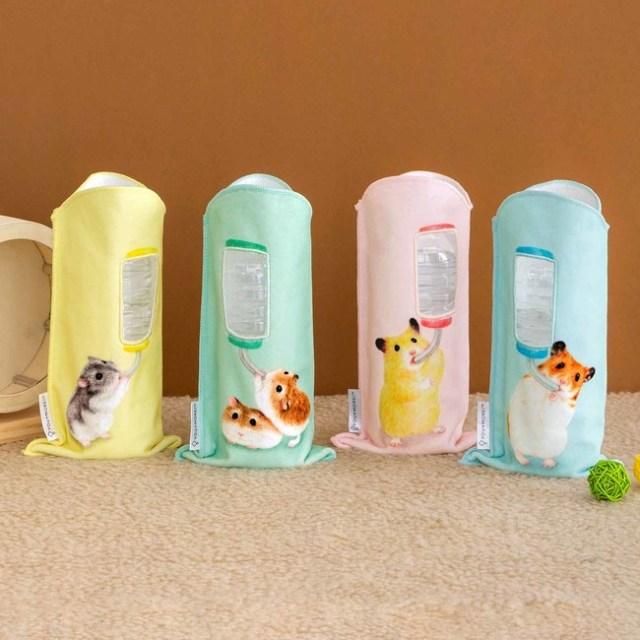 ハムスターがお水を飲む姿に癒やされる♪ ハムちゃんたちと水分補給できるペットボトルタオルがかわいい〜