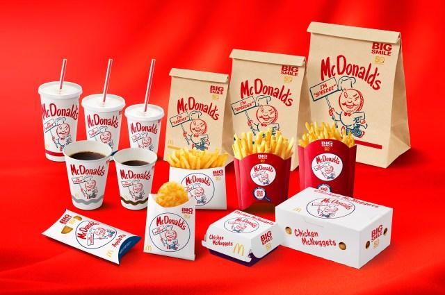 マクドナルド日本上陸50周年を記念したパッケージがレトロ可愛い! アメリカ創成期のキャラクター「スピーディー」をデザイン
