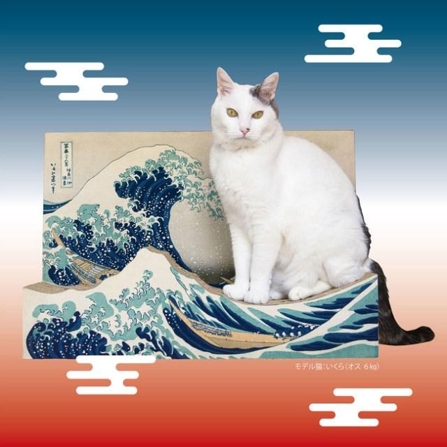 こりゃ絵になる…フェリシモから葛飾北斎『富嶽三十六景』デザインの猫さま用爪とぎが爆誕!