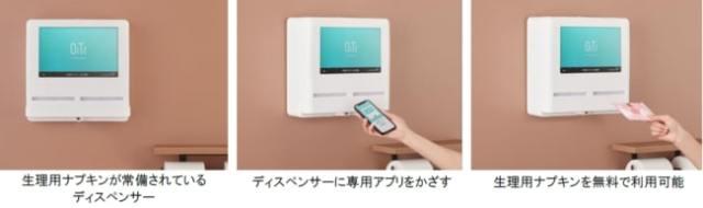 生理用ナプキンの無料化サービス「オイテル」がスタート! ららぽーと富士見の女性トイレ全個室に設置されます