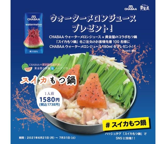 もつ鍋の上にスイカが乗ってる…!? 黄金屋の「スイカもつ鍋」はスープにスイカジュースを加えた超個性派鍋です