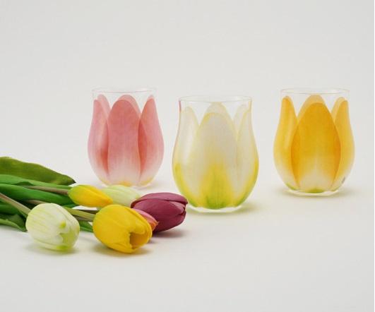 花びらをそのまま閉じ込めたようなチューリップグラスが繊細で美しい…