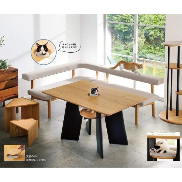 猫が遊びに来れるダイニングテーブル!? dinos「猫との暮らしを充実させる家具」シリーズは見ているだけで幸せになるアイテムばかり