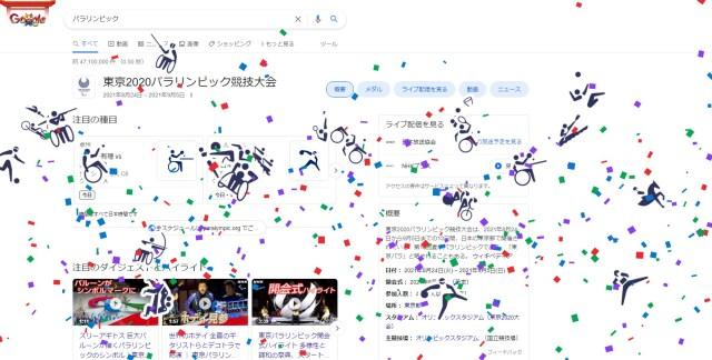 Googleで「パラリンピック」と検索すると大量の紙吹雪とピクトグラムが降ってくる! パラ競技の各種目を表しています