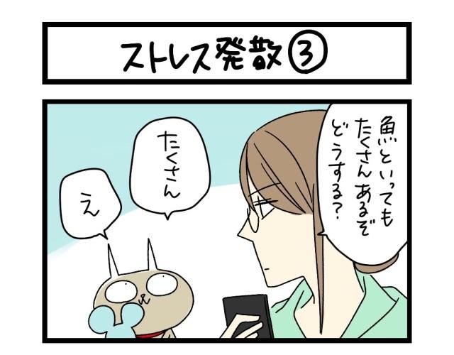 【夜の4コマ部屋】ストレス発散(3)  / サチコと神ねこ様 第1606回 / wako先生
