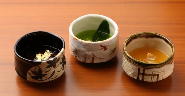 織田信長、豊臣秀吉、徳川家康をイメージした「三英傑カクテル」がユニーク! 各武将を日本酒ベースのカクテルで表現しているよ