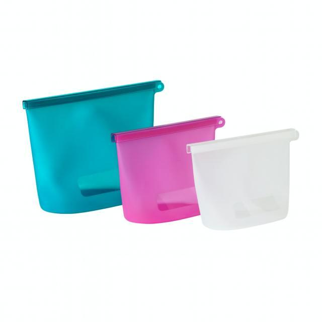イケアにも「シリコン保存バッグ」登場したよー! 色&サイズ違いの3点セットになっています